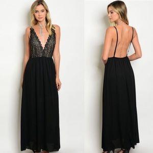 HP🔥Beautiful Low Back Black Lace Maxi Dress